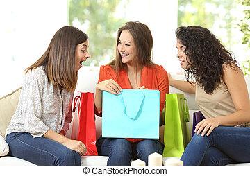clienti, borse, shopping, felice