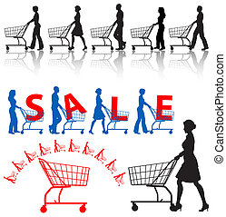 clienti, carrelli shopping, silhouette