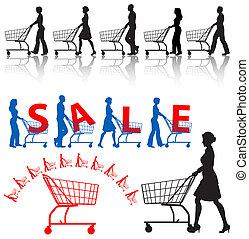clienti, carrelli, silhouette, shopping