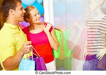 clienti, in, centro commerciale