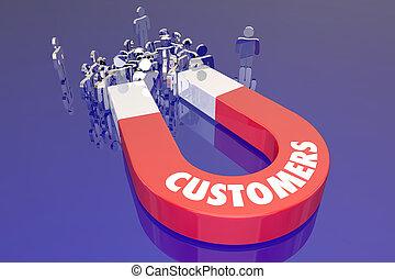 clienti, magent, attirando, nuovo, persone, prospettive, parola