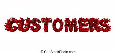 clienti, persone, clienti, prospettive, parola, 3d, illustrazione
