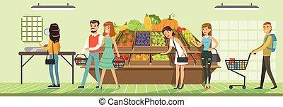 clienti, prodotti, mensole, persone, illustrazione, supermercato, vettore, disegno, supermercato, interno, fresco, orizzontale, verdura, negozio, bying