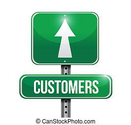 clienti, segno strada, illustrazioni, disegno