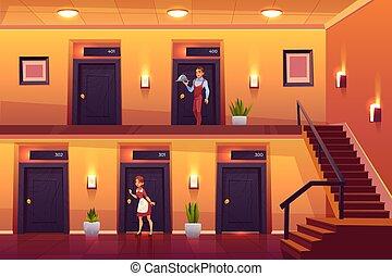 clienti, servizio, cameriere, albergo, domestica, personale