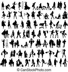 clienti, silhouette, set