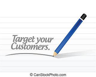 clienti, tuo, messaggio, illustrazione, bersaglio