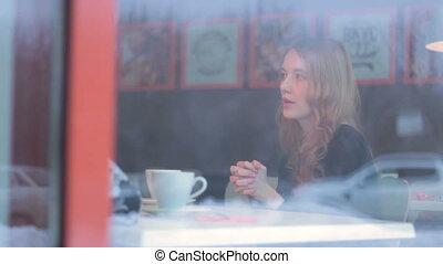 clients, affaires femme, communiquer, jeune, réunion