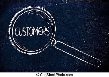 clients, clients, verre, conclusion, concentrer, magnifier