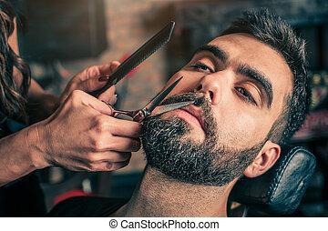 client's, corte, barbeiro, tesouras, barba