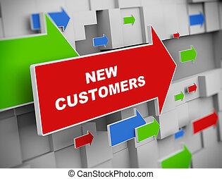 clients, -, en mouvement, flèche, nouveau, 3d