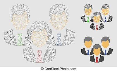 clients, fil, triangle, cadre, maille, vecteur, modèle, mosaïque, icône