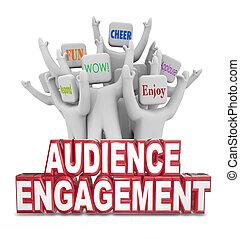 clients, gens, engagement, applaudissement, audience, mots