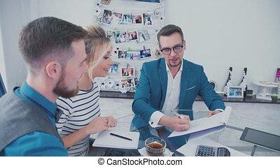 clients., gestion, réunions, directeur ventes, concept