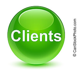 Clients glassy green round button