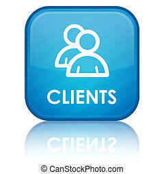 Clients glossy button - clients icon on glossy blue square ...