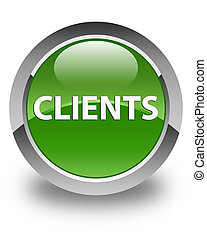 Clients glossy soft green round button