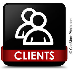 Clients (group icon) black square button red ribbon in middle