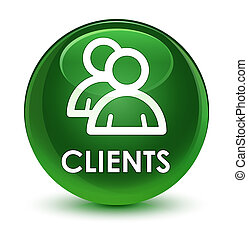 Clients (group icon) glassy soft green round button