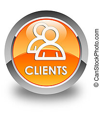 Clients (group icon) glossy orange round button