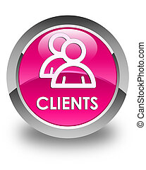 Clients (group icon) glossy pink round button