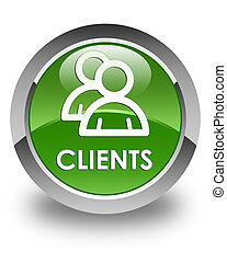 Clients (group icon) glossy soft green round button
