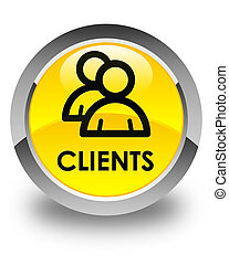 Clients (group icon) glossy yellow round button