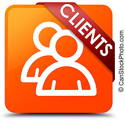 Clients (group icon) orange square button red ribbon in corner