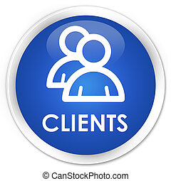 Clients (group icon) premium blue round button