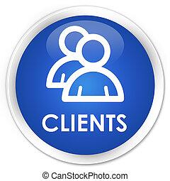 Clients (group icon) premium blue round button