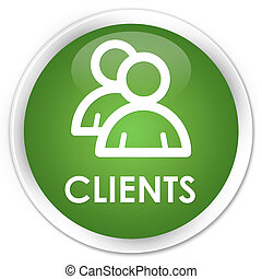 Clients (group icon) premium soft green round button