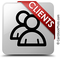 Clients (group icon) white square button red ribbon in corner