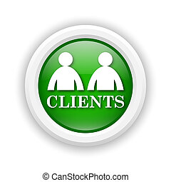 Clients icon - Round plastic icon with white design on green...