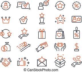 clients, récompenses, échanger, program., ensemble, dons, icons., système, loyauté, carte, loto, bonification, vecteur, commercialisation, prizes., achats, symboles