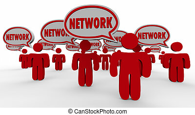 clients, réseau, gens, connexions, audience, parole, bulles, viewers
