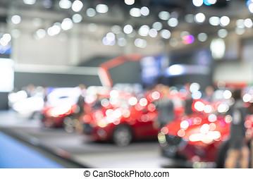 clients, voitures, buy., nouveau, salle exposition, vue