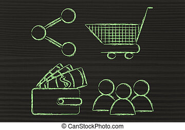 clients, wallet, shopping cart and sharing button:...