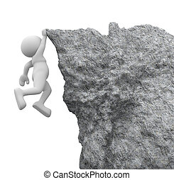 Cliff - 3d people - human character , person hanging from a...