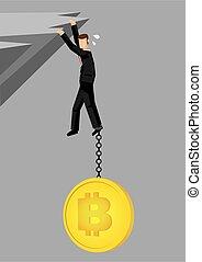 cliff., abajo, bitcoin, hombre de negocios, tirar