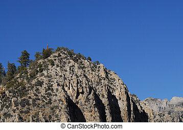 Cliff against blue sky