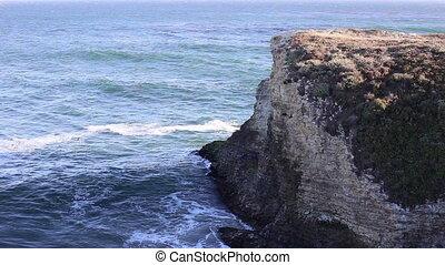 Cliff and waves crashing three