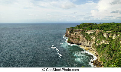 Cliff at Uluwatu Temple or Pura Luhur Uluwatu. One of ...