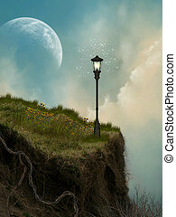 cliff with lamp and a big moon