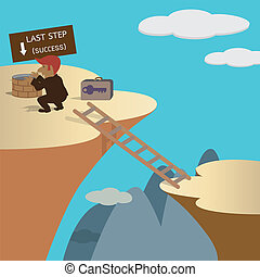 Businessman trying last step to success but not finished. Concept cartoon on vector tenth version encapsulated postscript.