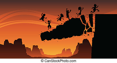 Cartoon silhouette of a rock cliff collapsing, sending a group of people to their doom.