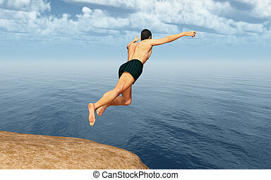 Cliff diver - Computer generated 3D illustration with a...
