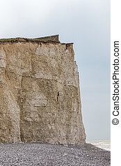 Cliff face closeup, chalk cliff at Seven Sisters, Beachy Head, Sussex.