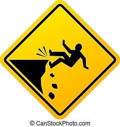 Cliff fall danger vector sign isolated on white background