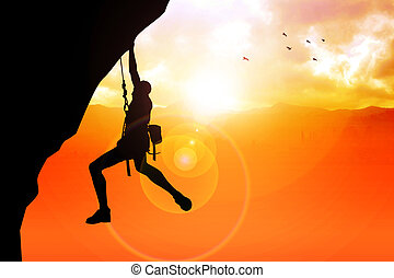 Cliff Hanger - Silhouette illustration of a man figure...