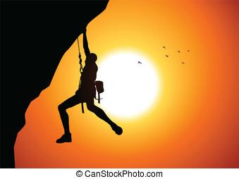 Cliff Hanger - Vector illustration of a man figure hanging...